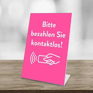 "Information display ""contactless pay"" pink"