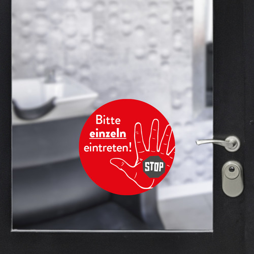 Sticker round enter individually red