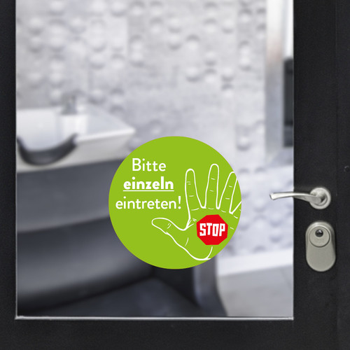 Sticker round enter individually green