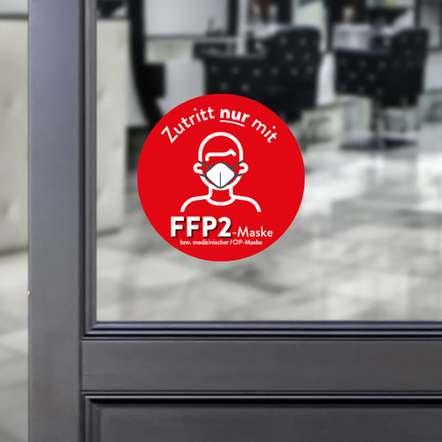 Sticker round Access only with a FFP2 mask red