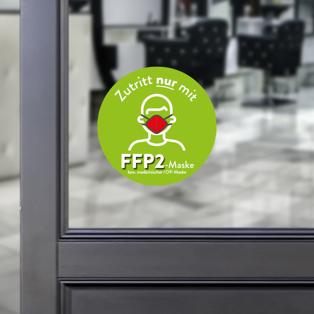 Sticker round Access only with a FFP2 mask green