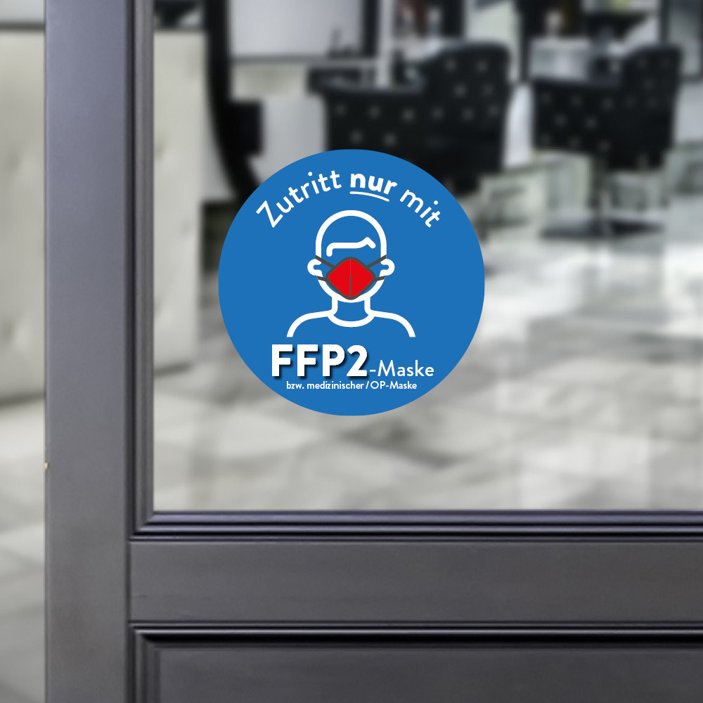Sticker round Access only with a FFP2 mask blue