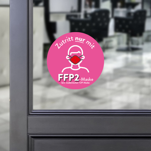 Sticker round Access only with a FFP2 mask pink
