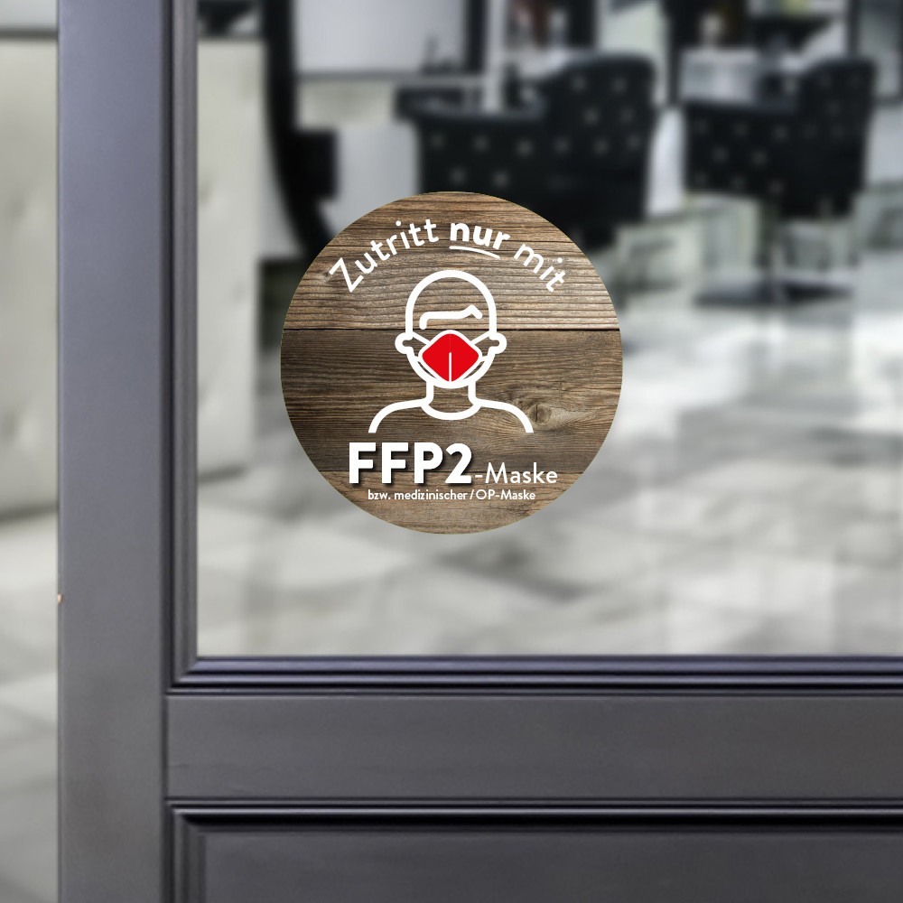 Sticker round Access only with a FFP2 mask wood
