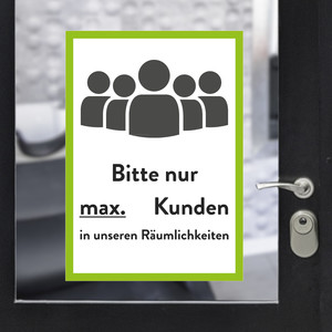 "Sticker A3 ""max customers"" green"