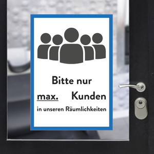 "Sticker A3 ""max customers"" blue"