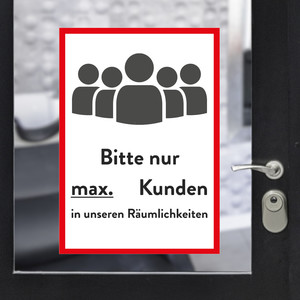 "Sticker A3 ""max customers"" red"